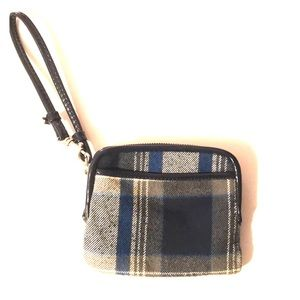 Blue plaid wristlet